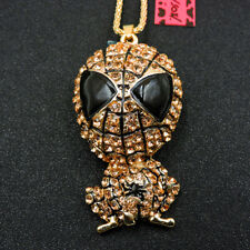Betsey Johnson Lovely Yellow Cartoon Spider Crystal Pendant Chain Necklace