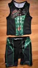 HINCAPIE Tri Triathlon Kit Skin Suit Sleeveless Shorts Cycling Womens S Green
