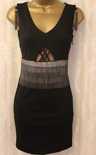 Hunt No More Chain Fringe Contrast Waist Cage Back V Neck Mini Shift Dress 8 36