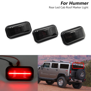 3x Smoked LED Rear Red Cab Roof Marker Light For Hummer H2 2003-2009 / SUT 05-09