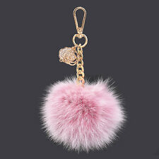Light Pink Real Fox Fur Furry PomPom keychain Crystal Rose Pendant Charm Ring