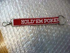 NY- HOLD' EM POKER  STRAP CLOTH  KEY CHAIN #25189 (RED & WHITE)