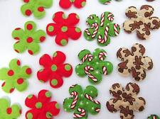 40 Christmas Holiday Cotton Flower Applique/Candy Cane/gingerbread/red dots H232