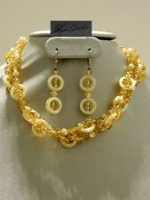 Morning Rays Sunshine MotherofPearl & Golden Magamatas NecklaceSETCLEARANCE SALE