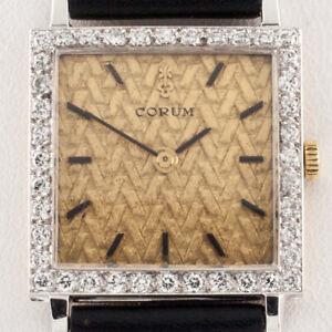 Corum 18k Yellow Gold Diamond Hand-Winding Watch w/ Leather Band