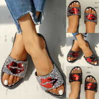 Women's Summer Rhinestone Mouth Studded Design Slippers Flat Heel Slip On Shoes