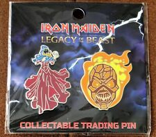 More details for iron maiden legacy of the beast clairvoyant & wicker man metal pin badge set new