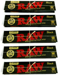 RAW Black Classic King Size Slim Rolling Papers Smoking Books per 50