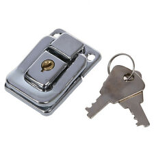Silver Tone Stainless Steel Suitcases Case Box Hasp Latch Lock w Key C2N7