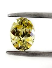 """Lab - Created Oval Checkerboard """" CZ """"  Faceted Stone 8X6mm Yellow"""