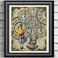 ART PRINT ON ORIGINAL ANTIQUE BOOK PAGE Decor Alice in Wonderland Dictionary