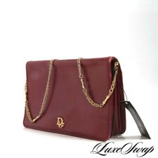 Vintage 1980s Christian Dior Rouge Red Leather Gold Chain Convertible Logo Bag