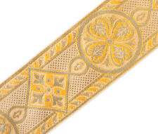 "Gold Medieval Jacquard Trim for Chasuble Church Vestment  2 3/8"" Wide DIY 3Yards"