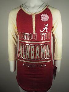 New Alabama Crimson Tide Teen Size Girls 3/4 Sleeve Distressed shirt NCAA