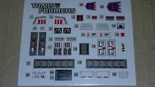 A Transformers premium quality replacement sticker/decal sheet for G1 Barrage