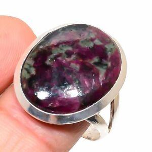 Eudialyte Gemstone Handmade 925 Sterling Silver Jewelry Ring Size 10.5 z648