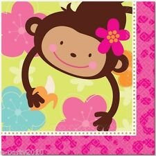 PINK MOD MONKEY LOVE LUNCH NAPKINS (16) ~ Birthday Party Supplies Dinner Large