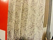 new~Fabric SHOWER CURTAIN~Black~white scrolls~embroidered swirl leafy fan floral