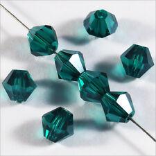 30 Perles Tchèques Toupies en Cristal 6mm Vert Emeraude
