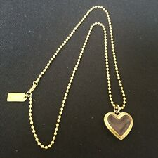 Coach Gold Necklace Clear Pink Heart Gold Bead Chain