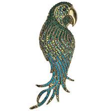 KIRKS FOLLY PERFECT PARROT  LARGE  PIN / PENDANT   antique goldtone