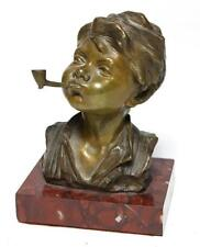 Impressive 19th C. European Bronze Bust; Boy & Pipe.