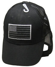 USA American Grey Silver Tactical Trucker Mesh Black 3D Embroidered Cap Hat