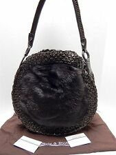 New David & Scotti Brown Calf Hair Woven Leather Round Shoulder Bag nwot