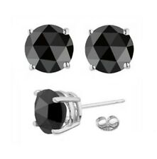 2 ct Rose Cut Certified Black Diamond Studs,Anniversary Gift, Wedding Gift