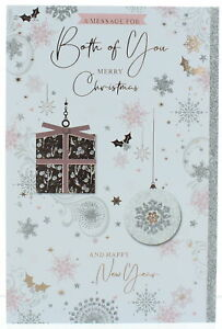 """Both Of You Christmas Card - Gift & Bauble With Foil & Glitter Detail  9"""" x 6"""""""