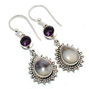 """Mayan Porcelain Jasper & Amethyst- 925 Sterling Silver Bali Earring2.03"""" LAE-250"""