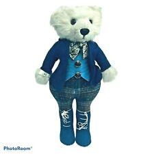 """Little Folk Blue Standing Teddy Bear Vintage 15"""""""
