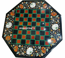 "18"" Black Marble Chess Floral Table Top Pietra Dura Handcrafted Inlay Decor"