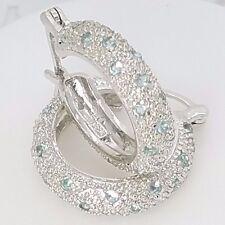 New Sterling Silver Brilliant Cut Pave Set CZ Sky Blue Huggie Hoop Earrings