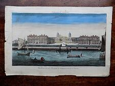 C1760 VUE D'OPTIQUE Panorama Greenwich Londra Huquier antica STAMPA INCISIONE