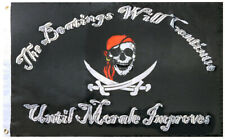 Pirate Beatings Will Continue Black Rough Tex Nylon 2x3 2'x3' Boat Flag Banner