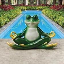 Frog Sculpture Lotus Position Meditation Zen Garden Statue Sculpture