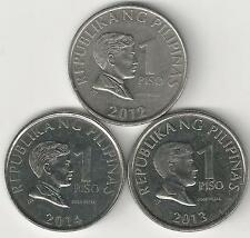 3 DIFFERENT 1 PISO COINS from the PHILIPPINES (2012, 2013 & 2014)