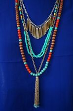 Western Gypsy Multi-Layer metal wood Turquoise Red beads Necklace set N45-2/22