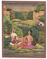 Handmade Indian Miniature Painting Mughal Empress Drinking Wine Side Of Lake