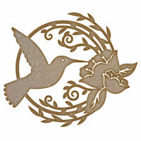 Humming Bird & Flower MDF Laser Cut Craft Blanks in Various Sizes