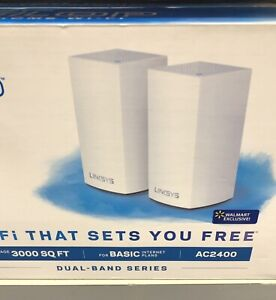 Linksys Velop Whole Home Wi-Fi AC2400 Dual-Band covers 3000 SqFt.• 2 Nodes • NEW