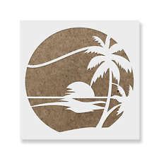 Sunset Beach Stencil - Reusable Mylar Stencils for Painting