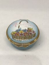 Halcyon Days Enamels Porcelain Happy Anniversary 2007 Battersea Trinket Pill Box
