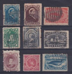 Canada Newfoundland 1866/1898 - Nice lot of 9 Very Fine Used stamps........X2900