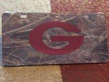 Georgia Bulldogs Laser Cut Red Mirrored G Logo in A Camo Acrylic Car Tag
