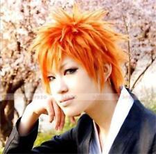 Anime Kurosaki Ichigo BLEACH Short Orange Cosplay Wig + Free Wig Cap USA Ship