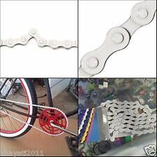 "Z410 KMC Bicycle Chain Single Speed 1-Speed Size 1/2"" x 1/8"" 112L Link Fix WHITE"