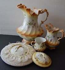 Antique W.H. Grindley Victorian Scallop Water Pitcher Boudoir Set - Late 1800's