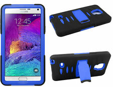 Black Blue Skin Side Stand Hybrid Case Cover For Samsung Galaxy Note 4 Phone